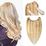 Hidden Invisible Crown Human Hair Extension Highlight One Piece Secret Miracle Wire in Hairpieces Highlight Remy Hair Translucent Fish Line Headband 70g 20''#18/613 Light Ash Blonde/Bleach Blonde