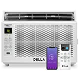 Della 6000 BTU Energy Star Window Air Conditioner 110V/60Hz Whisper Quiet AC For Rooms up to 250 sq ft, Cooling, Dehumidifier, Fan With Smart Control, Alexa, Remote