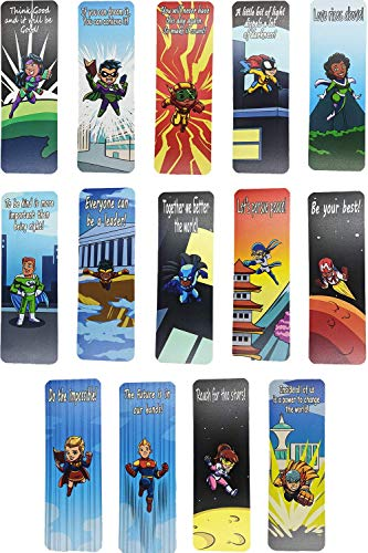 Livin Harmony    Cool Hero Bookmarks (14 - Set)    Inspirational Gift for Kids, Students, Boys, Girls, and Teens    Premium Quality Made in USA (Heros, 14)