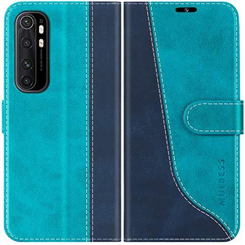 Mulbess Handyhülle für Xiaomi Mi Note 10 Lite Hülle Leder, Xiaomi Mi Note 10 Lite Handy Hüllen, Modisch Flip Handytasche Schutzhülle für Xiaomi Mi Note 10 Lite, Mint Blau