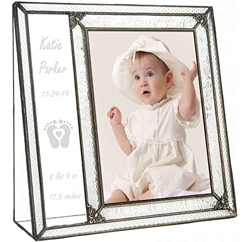 Personalized Baby Picture Frame 5x7 Photo Engraved Clear Glass Nursery Decor Newborn Girl or Boy New Parents Grandparents J Devlin Pic 393-57V EP636