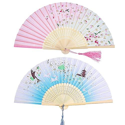 2 Piezas Abanico de bambú, Abanico Plegable de Mano, Ventilador de Mano Chino, Retro Abanico Plegable de Mano, Abanico de Madera para Mujer, para Bodas, Fiestas o Regalos