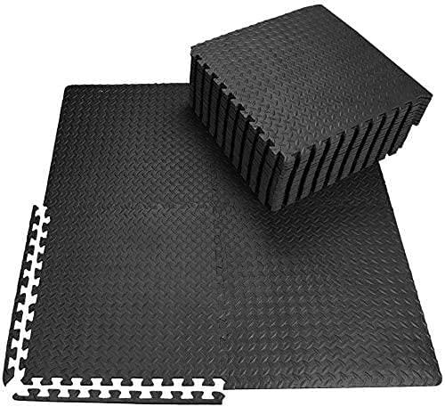 Tapis de Protection de Sol 60 x 60cm 48pcs Dalles en Mousse EVA 10mm d'épaisseur Tapis Puzzle de Fitness Sport, sans BPA + Bordures, Isolation Contre Coups, bruits, éraflures (48pcs)