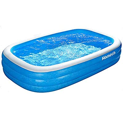 Homech Inflatable Pool, Kiddie Swimming Pool, Family Lounge Pool, 95 x 56 x 22 in, for Ages 3+