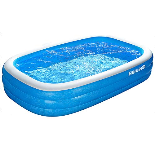Homech Inflatable Pool, Kiddie Swimming Pool, Family Lounge Pool for Kids, Adults, Babies, Toddlers, Outdoor, Garden, Backyard, 95 x 56 x 22 in, for Ages 3+