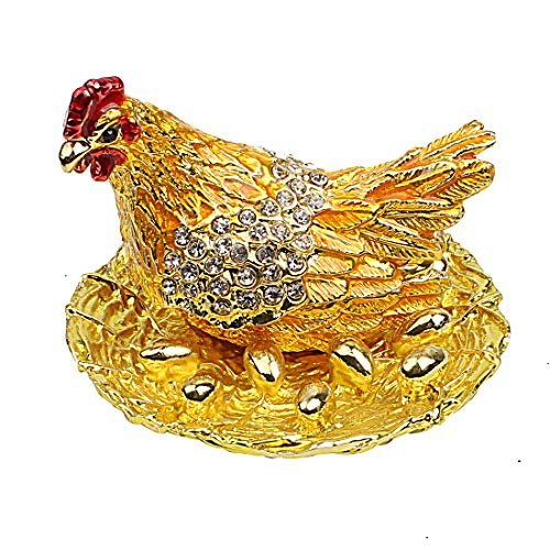 Hophen Hen Hatching Eggs Bejeweled Collectible Trinket Jewelry Box Chicken Coop Ring Holder Mother`s Day Home Decor Figurine Ornament (Colorful) (Gold)