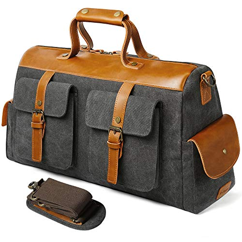 S-POINT Canvas Duffle Bag Leather Weekend Bag Carry On Travel Tote Duffel Weekender Luggage Oversized Holdalls Handbag for Men and Women with Shoulder Strap