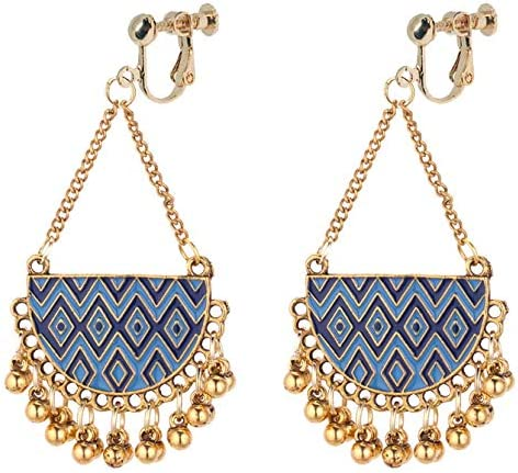 Boho Clip on Dangle Earrings for Girls Women Enamel Native American Geometric Ball Drop Long Chain