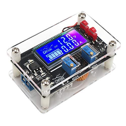 DROK DC Buck Module, Adjustable Buck Converter Step Down Voltage Regulator 6V-32V 30V 24V 12V to 1.5-32V 5V 5A LCD Power Supply Volt Reducer Transformer Module Board with USB Port Protective Case