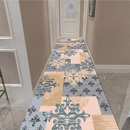 Auart Chic Textured Geometric Trellis Pattern Pink Carpet Runner, Non-Skid Rubber Backing Vintage Distressed Washable Indoor Outdoor Runner Rug (Color : B, Size : 120×300cm)
