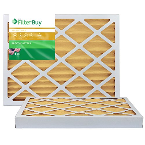 FilterBuy 16x20x2 Air Filter MERV 11, Pleated HVAC AC Furnace Filters (2-Pack, Gold)