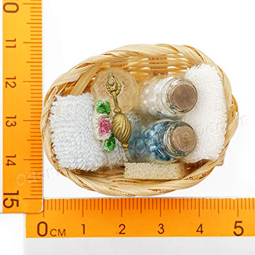 Odoria 1:12 Miniature Bathroom Set Perfume Towel with Basket Dollhouse Decoration Accessories