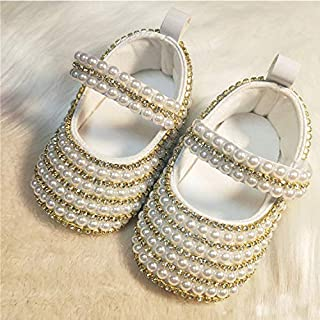 Luxury Custom Pearl Baby Girls Sparkle Princess Dress Shoes Rhinestone Bling Infant Toddler Walking Shoes