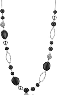 Beaded Long Necklace for Women Silver Sweater Chain Necklace with Crystal Resin Beads, Fashion Jewelry for Girls