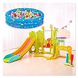 Los portaobjetos cubierta columpio combinación for niños pequeños, Estructuras multifunción juego se puede utilizar con la puerta de fútbol, baloncesto Stand, Bate de béisbol, piscinas de bolas tobo