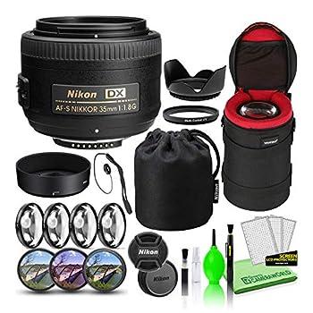 Nikon AF-S DX NIKKOR 35mm f/1.8G Prime Lens  2183  USA Model Bundle Package with Padded Lens Case + Macro Filter Kit + UV CPL FL Lens Filters + Tulip Hood + Lens Cap Keeper + Lens Cleaning Kit