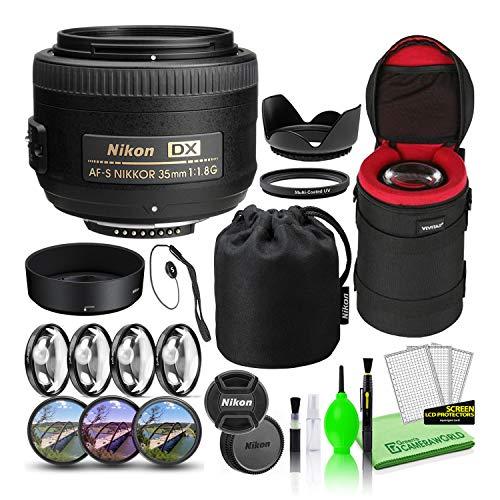 Nikon AF-S DX NIKKOR 35mm f/1.8G Prime Lens (2183) USA Model Bundle Package with Padded Lens Case + Macro Filter Kit + UV, CPL, FL Lens Filters + Tulip Hood + Lens Cap Keeper + Lens Cleaning Kit