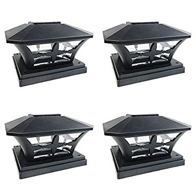 iGlow 4 Pack Black / White Outdoor Garden 6 x 6 Solar SMD LED Post Deck Cap Square Fence Light Landscape PVC Vinyl Wood