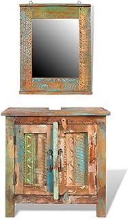 vidaXL Bathroom Vanity Cabinet Set with Mirror Solid Reclaimed Wood Storage