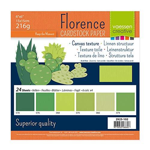 Vaessen Creative Florence Scrapbook-Papier 216 g 6x6-x24 Blatt-Multipack, grün, Paper, multicolor, 15 x 15 x 0.8 cm