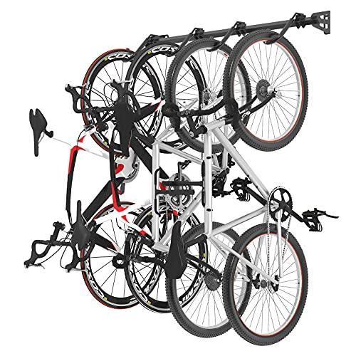FLEXIMOUNTS Bike Rack for Garage, Heavy-Duty 4-Bike Wall Mount Hanger for Home & Garage, Holds Up to 200lbs