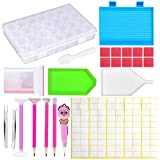 MXJSUA 158 Pcs 5D DIY Diamond Painting Tools Kit Set Accessories Including Storage Box, Drill Pen, Glue, Tweezers, Tray, Quick Point Pen with Light for Art Craft Case