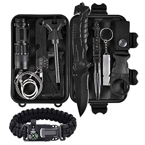 ThreeCat Outdoor Survival kit 11 in 1, Emergency Survival Gear Tool with Knife, Compass,...