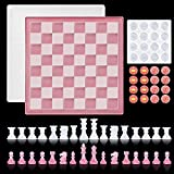 3D Chess Silicone Resin Mold-16 Pieces Silicone Chess molds,Checkers Board Crystal Epoxy Resin kit for DIY Resin Mold Crafts Making,Classic Checkers Silicone molds for epoxy Resin,Family Party Game