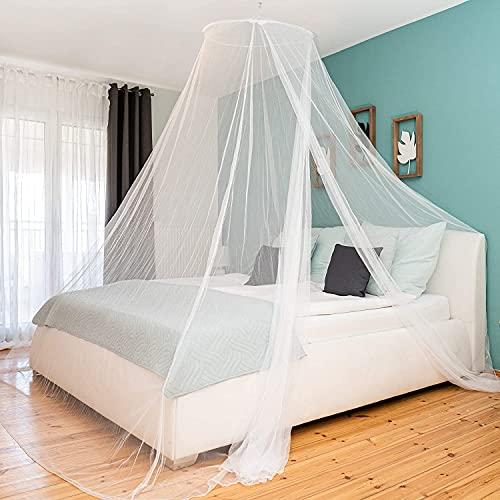 Moskitiera na łóżko, podwójne łóżko, wisząca moskitiera do łóżeczka dziecięcego, pojedynczego, biała, okrągła, do domu, ogrodu, na balkon, kemping, 11 m x 2,6 m