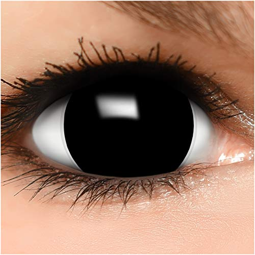 FUNZERA® Mini Sclera Lentillas de Colores Black + recipiente para lentes de contacto, sin dioptrías pack de 2 unidades - cómodas y perfectas para Halloween, Carnaval, sin corregir