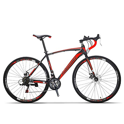 ZHTX Carbon Steel Road Bike 21/27 Speed Road Bike Off-Road Disc Brake Road Racing Male and Female Students 700C Three-Pole Sports Car (Color : Black red, Size : Banner Wheel)