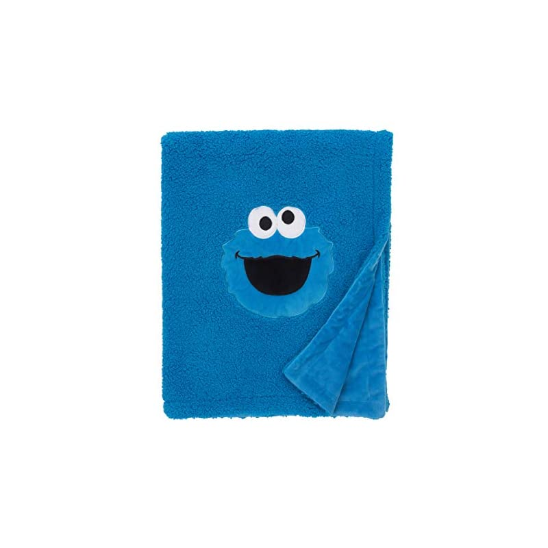 crib bedding and baby bedding sesame street cookie monster blue soft plush sherpa toddler blanket with applique, blue, white, black