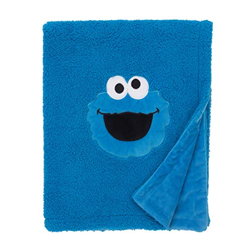 Sesame Street Cookie Monster Blue Soft Plush Sherpa Toddler Blanket with Applique