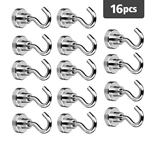 16 Stück 18LBS Neodym Magnete Absofine Extra Stark Mini Magnet mit Haken für Küche Garage Schließfächer Büro Kühlschrankmagnet Schlüsselhalter