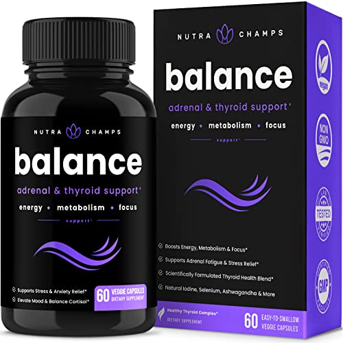 Thyroid Support & Adrenal Support Supplement 2-in-1 Natural Formula with Iodine & Ashwagandha for Energy, Metabolism, Focus, Adrenal Fatigue, Stress & Anxiety Relief, Cortisol Balance for Women & Men