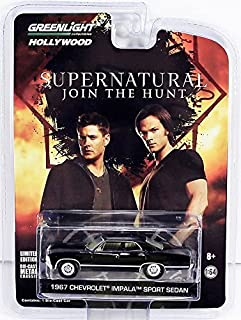 Greenlight New 1:64 Collection Supernatural Join The Hunt - Black 1967 Chevrolet Impala Sports Sedan Diecast Model Car
