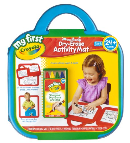 Crayola My First Dry Erase Activity Mat Art Gift for Toddlers & Preschool Kids 2 & Up, Washable Triangular Guided Grip Dry Erase Crayons, Portable Folding Mat, Activity Sheets & E-Z Erase Cloth