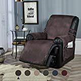 "STONECREST Recliner Slipcover, Water Resistant Faux Leather Cover, Washable Furniture Protector for Pets, Kids, Seat Width Up to 25 Inches with Straps(Chocolate, 25"" Recliner)"