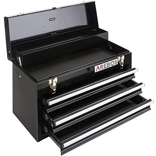 Arebos Werkzeugkoffer mit 3 Schubladen & 2 Ablagefächern | inkl. Tragegriff & Schnappverschlüssen | Einrastfunktion | Antirutschmatten | Schwarz