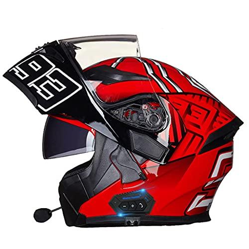 NS Casco Moto Bluetooth 2 En 1 Integral Media Cara Flip Modular Motocicleta Bluetooth Motocross Casco De Vehículo De Motor Calle Ciclomotor Viseras Dobles (Color : G, Size : XL)