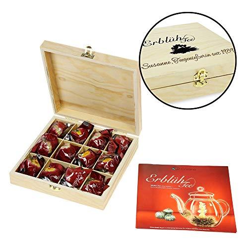 Monsterzeug Erblühtee in personalisierter Holzbox, Weißer Tee - 12 Teekugeln in 6 Variationen, Teegeschenk mit Namen und Geburtsjahr