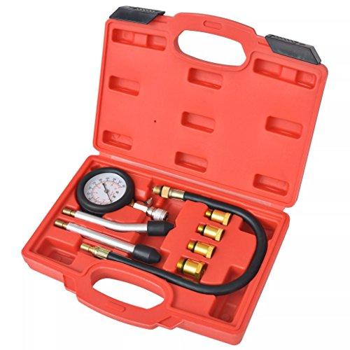 Xinglieu Kit de Test de Compression 8 pièces pour Moteurs à Essence Facile à Utiliser, Transporter et fixez Accessoires pour véhicules boîte à Outils du véhicule