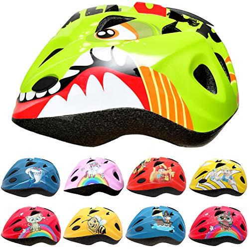 SkullCap Casco Niño Bicicleta diseñado por los niños, Casco Bici Carretera Chico y Chica, Casco Bicicleta montaña, Dinosaurio, Animal, Dino