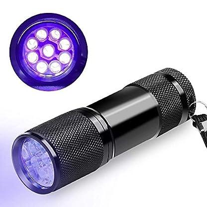 CFIKTE UV LED Flashlight Black Light UV Lights 9 LED Ultraviolet Blacklight Flashlights Pets Urine and Stains Detector on Clothes Carpet Rugs (2 PACK) 3