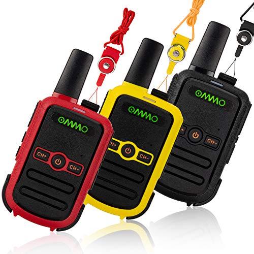 OMMO Walkie Talkies for Kids, 3 Pack Rechargeable Walkie Talkies for Kids and Adults, Two Way Radio for Family Hiking and Camping, Long Range Handheld Walky Talky