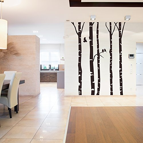 malango® Wandtattoo Birkenwald Baumstämme Birken Bäume Wanddekoration Wald Stämme Natur Äste Vögel Tattoo Dekoration 280 cm - Höhe haselnussbraun
