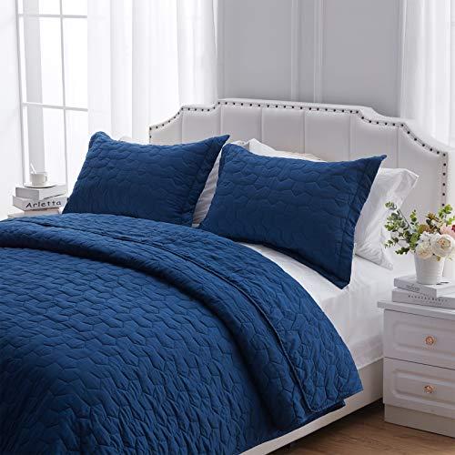 NexHome Steppdecken-Set für King-Size-Betten, weich, leicht, gesteppt, für alle Jahreszeiten, grau-weiß, 3-teiliges Bettwäsche-Set mit Kissenbezügen