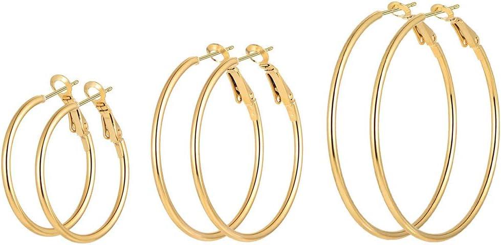 Large Hoop Earrings,3 Pairs Stainless Steel Smooth Big Circle Ear Rings Super Round Loop Earrings for Women Girls Sensitive Ears Jewelry Set Gifts (Gold(40/60/80mm))