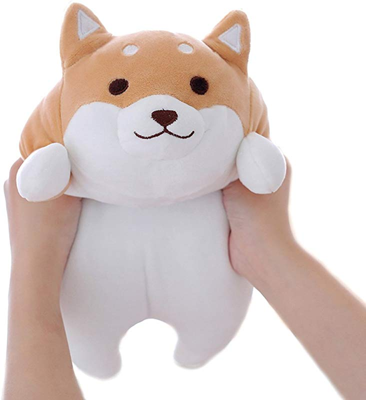 Levenkeness Shiba Inu Dog Plush Pillow Cute Corgi Akita Stuffed Animals Doll Toy Gifts For Valentine S Gift Christmas Sofa Chair Brown Round Eye 15