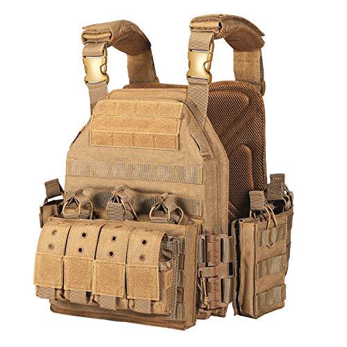 Yakeda - Chaleco militar táctico de liberación rápida ajustable para los, caqui, S-4XL
